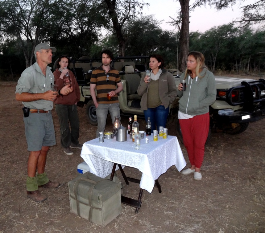 Sundowners in Lower Zambezi National Park with Paul Grobler ( Pic from Crisney Lane )