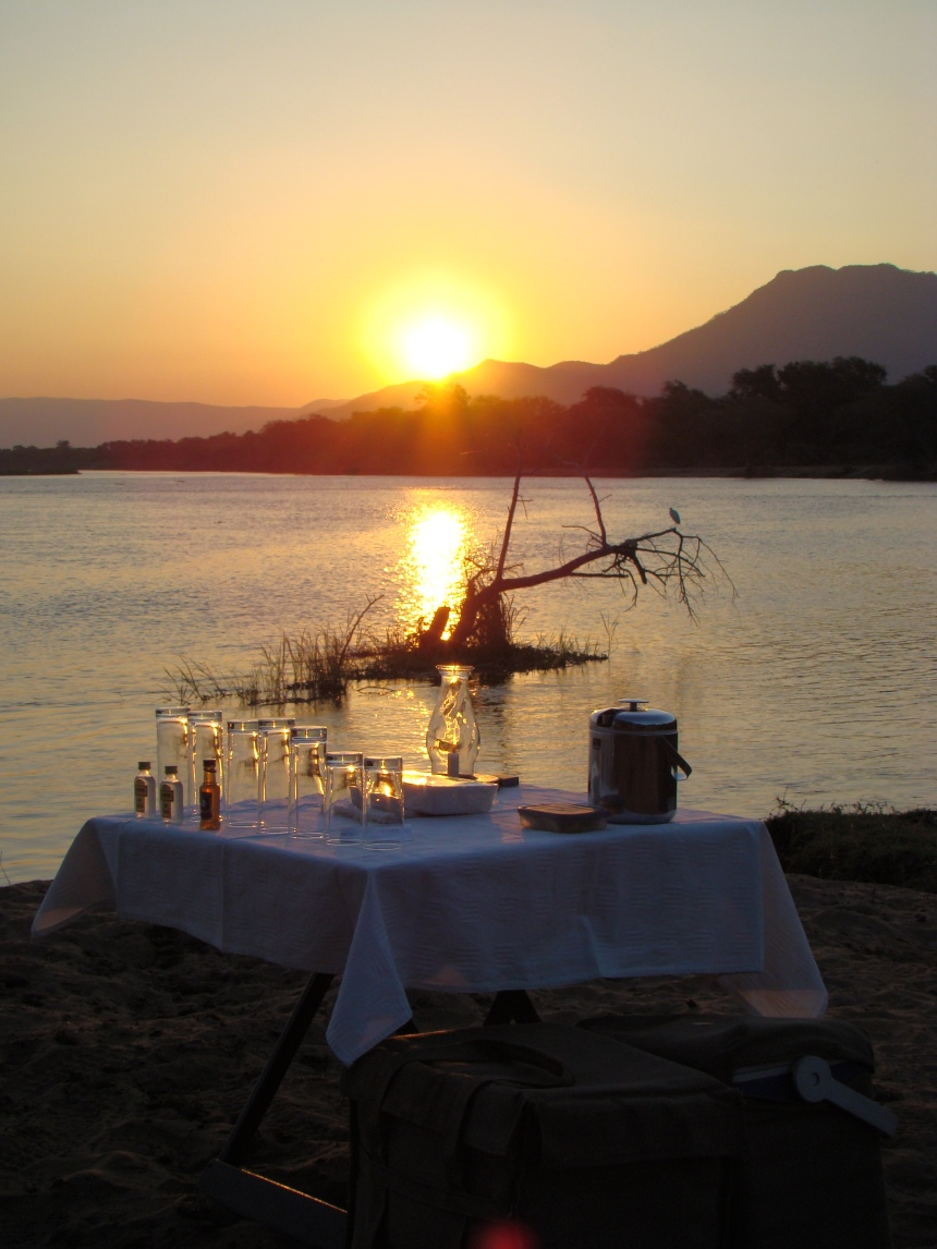 Sundowners on the Zambezi River